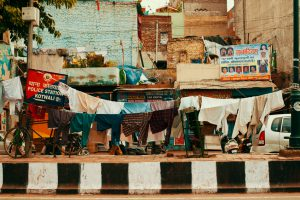 Delhi, India - September 23, 2015: Indian domestic life on the streets of India. Clothes drying on a rope